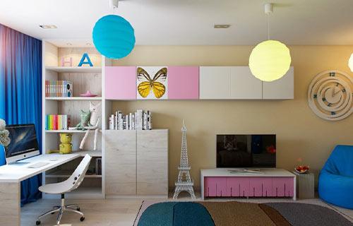 Kamar Anak Minimalis dengan Mainan Gantung
