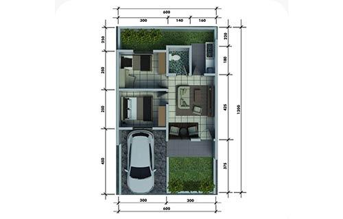 Rumah Minimalis Type 36 Dapur Terbuka 1
