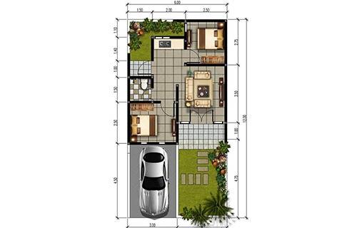 Rumah Minimalis Type 36 dengan Batu Alam 1