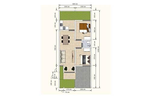 Rumah Minimalis Type 36 dengan Koridor Pintu Masuk 1