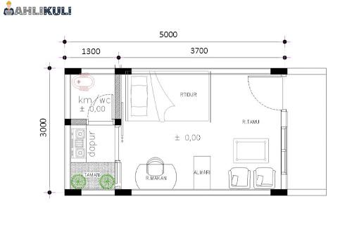 Desain Kontrakan 3x5 Meter